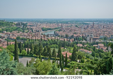 Verona panoramic view from a hill, Italy - stock photo