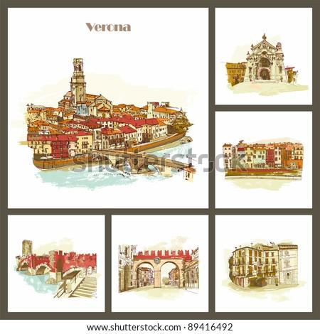Verona - the city of Romeo and Juliet. Bridge over Adiga river. Italy - stock photo