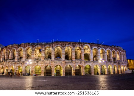 Verona theater during evening hour - stock photo
