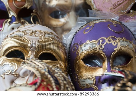 Verona (Veneto, Italy), Piazza Erbe, masks in the market