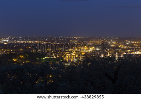 Verona, View from Agriturismo San Mattia in Italy, at night