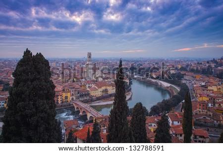 Verona View to the Duomo - stock photo