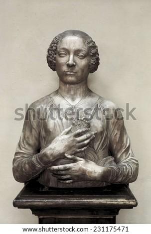VERROCHIO, Andrea del (1435-1488), Portrait of Woman, 1475-1480, Bust identified with Lucrezia Donati or Ginevra dei Benci, Renaissance art, Quattrocento, Sculpture on marble, - stock photo