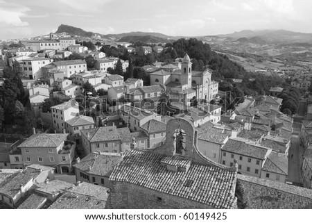 Verrucchio medioeval vilaage near Rimini Italy - stock photo