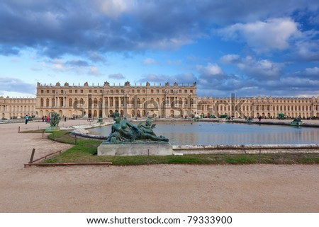 Versailles - beautiful French chateau and gardens. National landmark of France.