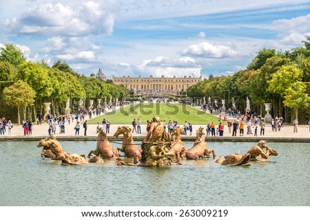 VERSAILLES, FRANCE - August 7, 2014: Fountain of Apollo in garden of Versailles Palace in a beautful summer day in France on August 7, 2014, France. - stock photo