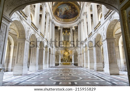 VERSAILLES, FRANCE - August 7, 2014: Interior of Chateau de Versailles (Palace of Versailles) near Paris on August 7, 2014, France. Versailles palace is in UNESCO World Heritage Site list since 1979.