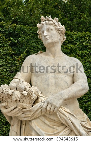 Versailles, France - august 19 2015 : marble statue in the castle park
