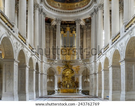 VERSAILLES, FRANCE - AUGUST 28 2013: Royal Chapel inside Versailles Palace, France - stock photo