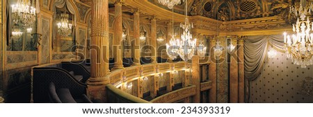 Versailles, France - 10 August 2014 : Royal Opera at Versailles Palace ( Chateau de Versailles ). It was added to the UNESCO list of World Heritage Sites.
