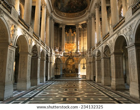 Versailles, France - August 2014 : View of the altar from the entry of the Royal Chapel in Versailles Palace ( Chateau de Versailles ).