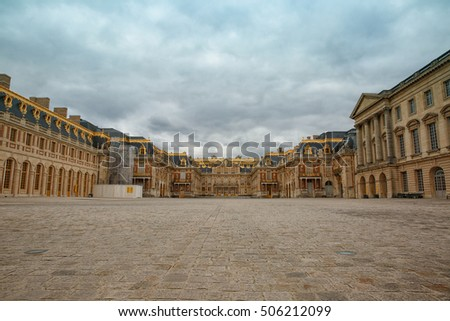 VERSAILLES, FRANCE - May 2, 2016: Entrance of the famous Versailles palace near Paris