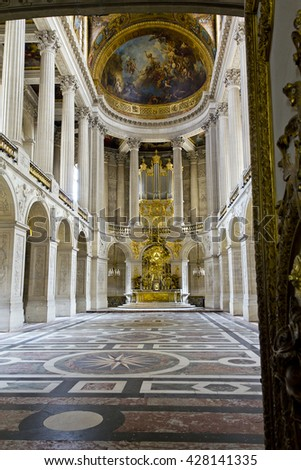 VERSAILLES, FRANCE - MAY 12, 2013: This is the hall in the Chapel of St. Louis in the Palace of Versailles.