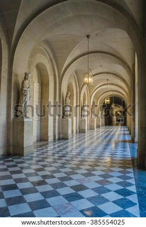 Versailles, France - September 2015 : Corridor of Versailles Chateau Palace Paris France