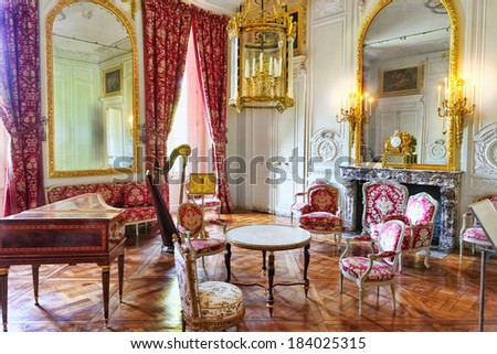 VERSAILLES FRANCE - SEPTEMBER 21 Interior Chateau of Versailles, Versailles, France on september 21, 2013. Palace Versailles was a Royal Chateau-most beautiful palace in France and word. - stock photo