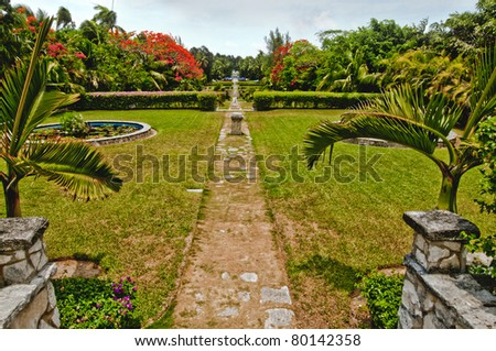 Versailles Garden in Paradise Island, the Bahamas - stock photo