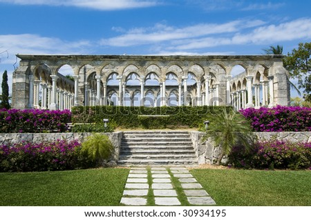 Versailles Gardens on Paradise Island in the Bahamas - stock photo