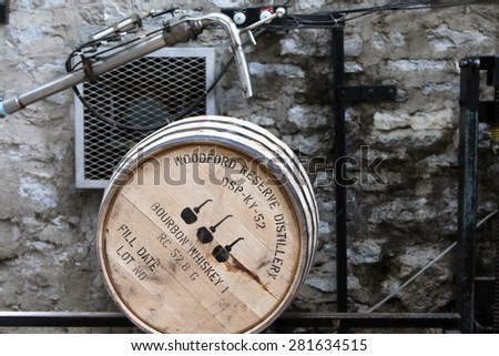 VERSAILLES, KY-MAY, 2015:  Whiskey barrel being filled with unaged whiskey at the Woodford Reserve Distillery.   - stock photo