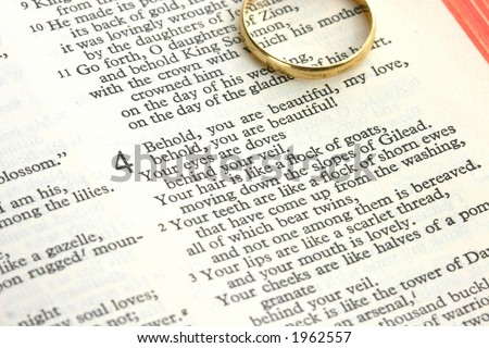 Verses from Song of Solomon or Song of Songs with wedding ring