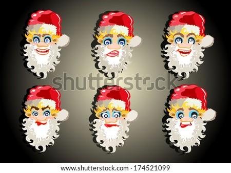 versions of Santa Claus - stock photo
