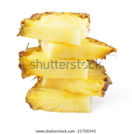 vertical ananas slices, isolated on white background, with light shadow - stock photo