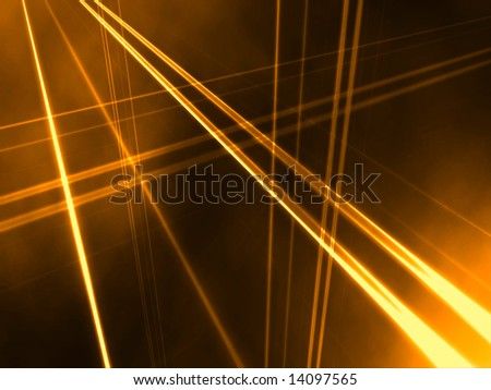 Vertical and hortizontal lines create an abstract perspective against an orange  gradient cloudy background. - stock photo