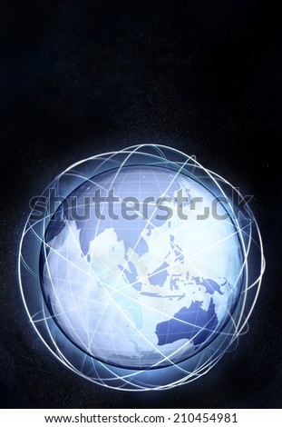vertical asia earth globe view from cosmic space illustration - stock photo