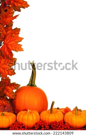 Vertical autumn corner border with pumpkins and red leaves over white
