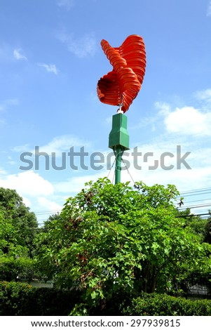 Vertical axis wind turbines to generate electricity - stock photo