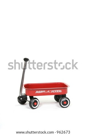 Vertical Baby Toddler Little Red Wagon Studio Fantasy Set (Insert Your Client) - stock photo