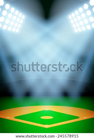 Vertical Background for posters night baseball stadium in the spotlight. - stock photo