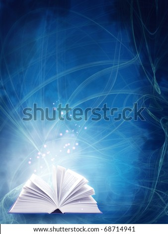Vertical background of blue color with magic book - stock photo