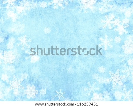Vertical background of blue color with snowflakes - stock photo