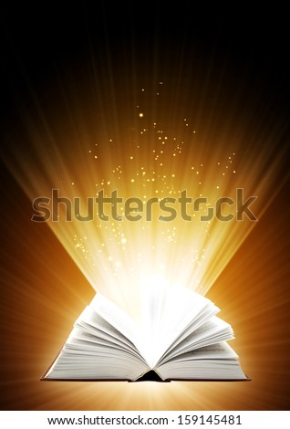 Vertical background of brown color with magic book