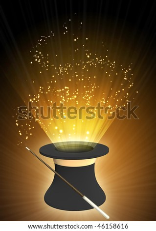 Vertical background of brown color with magic top hat - stock photo