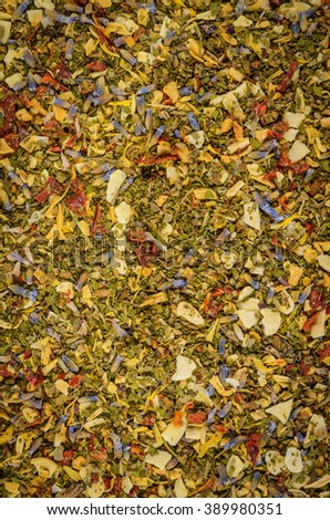 vertical background of herb and spice mixture - stock photo