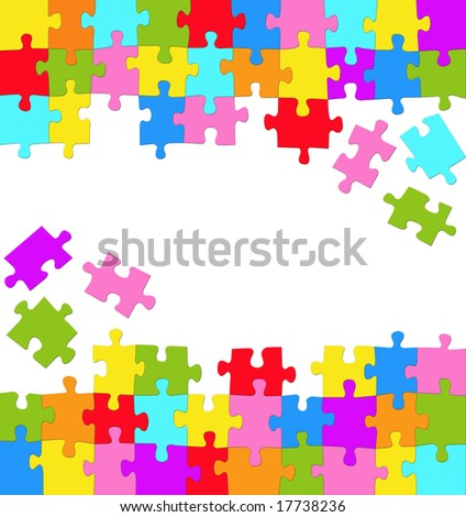 Vertical background with many colored puzzles