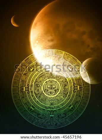 Vertical background with Maya calendar - stock photo