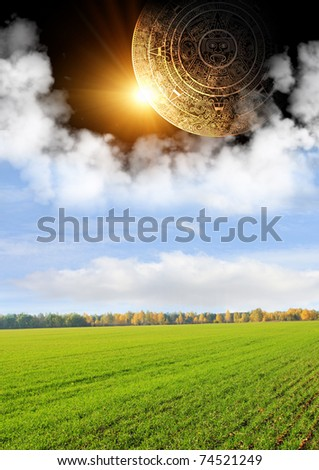 Vertical background with Maya calendar and autumn landscape - stock photo