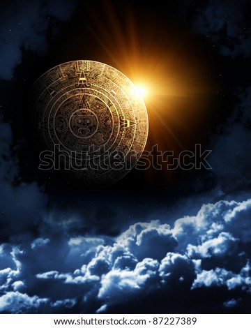 Vertical background with Maya calendar and space cloud
