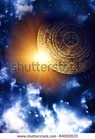 Vertical background with Maya calendar and space scene