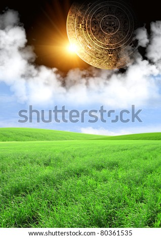 Vertical background with Maya calendar and summer landscape - stock photo
