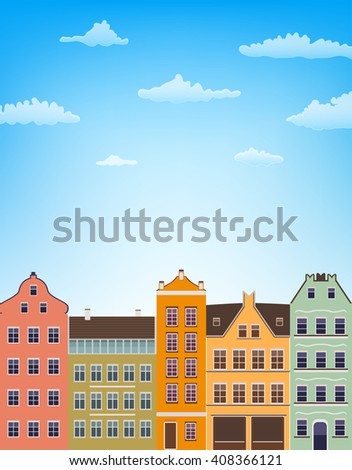 vertical background with retro houses over blue sky with clouds. raster illustration - stock photo