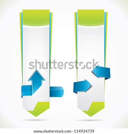 Vertical banners with arrows