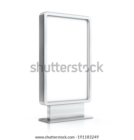 Vertical blank billboard - stock photo