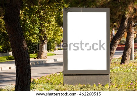 Vertical blank Billboard on the background of nature