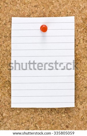 Vertical blank white striped sheet on cork board with a red small thumb tack - stock photo