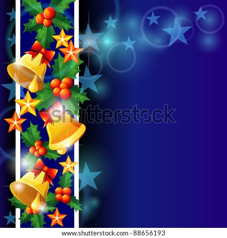 Vertical blue Christmas card with holly and bells