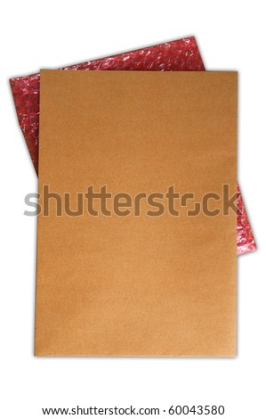 Vertical Brown Envelope document and Red Plastic Cushioning on white background - stock photo