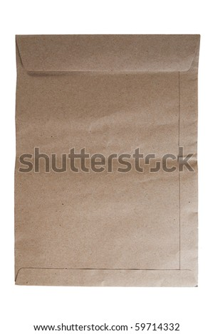 Vertical Brown Envelope document on white background - stock photo